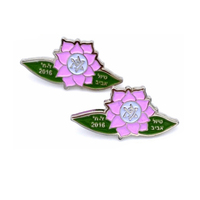Custom beautiful metal flower pin badge ,lapel pin flower