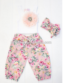 Fashionable kids clothes cropped vintage pants with flower vest boutique outfits remakes