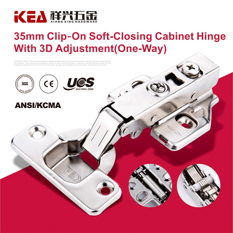 [K16] 3D Adjustable Cabinet Hinges Clip-On Hinge Soft-Closing Hinge