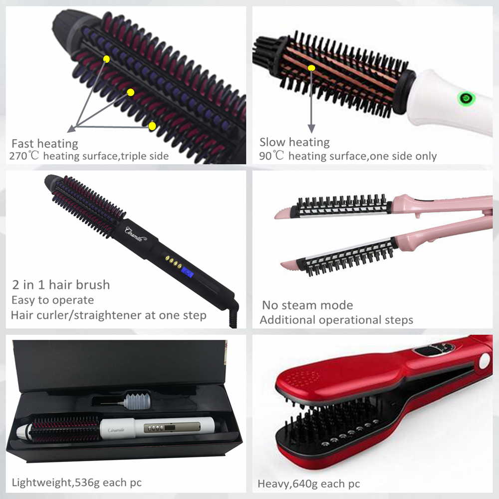 2018 Electric Steam Straightening Brush Household Ion Hair Salon Equipment Personalized Rotating Hair Straightener