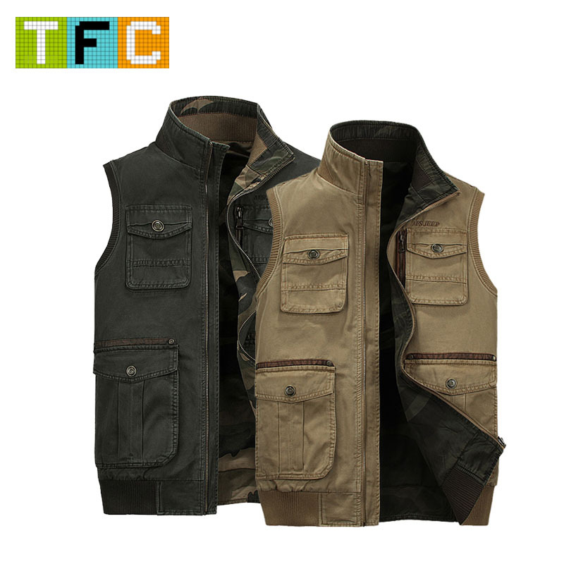 Vest Fishing,Vest Military,Spring And Autumn Male Vest Outdoor Casual Multi-Pocket Quinquagenarian 100% Cotton Vest Waistcoat