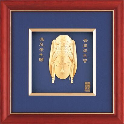 Gold foil india god pictures with wooden frame handmade buddha picture frame 6x6 picture frame