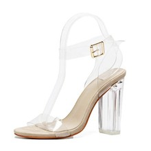 Fashion design clear block heel sexy ladies party shoes women high heels shoes
