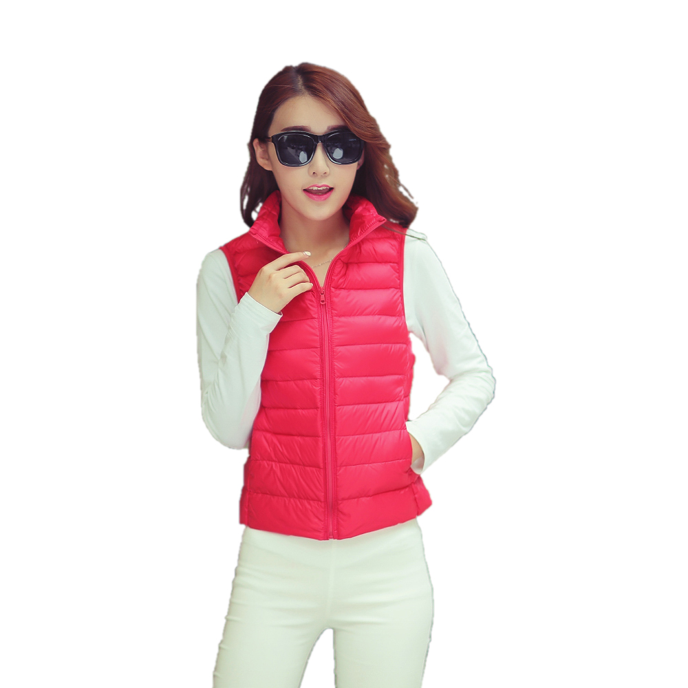 2018 Slimming Fitness Cross Fit Light Weighted Duck Down Waistcoat Vest Jacket Women