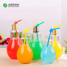 Factory supply Screw Alu.Cap Wholesale Plastic drinking Beverage Bottle 200ml Light Bulb juice bottle
