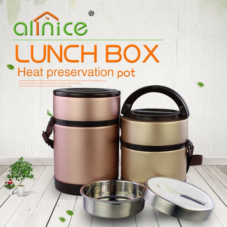 1.3L/2.0L Sealed stainless steel thermo lunch box double insulation food vacuum lunch pot
