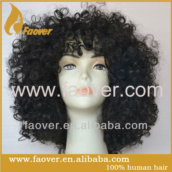 nature color Human Hair Full Lace Wig mongolian Kinky Curl Human Hair Wig