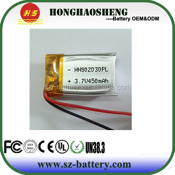 cheap rechargeable 802030 lipo battery 3.7v 450mah/li ion batteries 3.7v 450 mah for smart watch