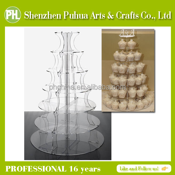 Tower Design Factory Direct Sell Acrylic Cupcake Display Shelf Multilayer Perspex Cake Exhibition Tower Stand