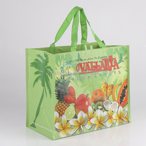Machine printed cmyk color eco laminated woven shopping bag, polypropylene bag eco