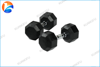 Factory Wholesale Hot Sale Gym & Fitness & Crossfit Fashion Black Rubber Hex Dumbbell Set