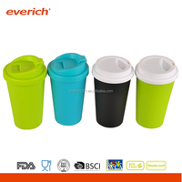 Everich 400ml custom double wall plastic tumbler mug with cover