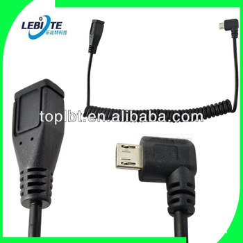 5Ft Spiral Coiled Micro USB B 5 Pin left angle Male to Female extension cable from LBT factory