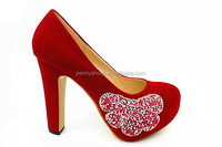 latest high class high heel Women wedding party shoes with diamond flower