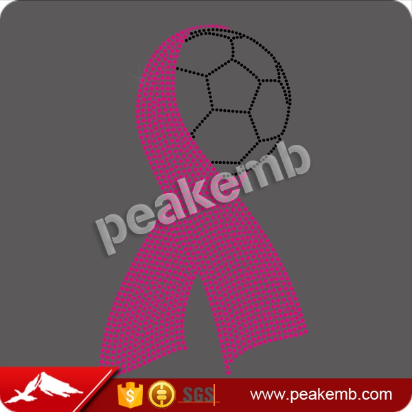 Wholesale breast cancer ribbon soccer ball Rhinestone Transfers Bling Your Cloths