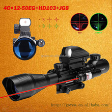 3 in1 cambo AR15 Tactical Rifle Scope 4-12x50EG Dual Illuminated Optics Sight & Red Laser & 4 Holographic Dot Sight