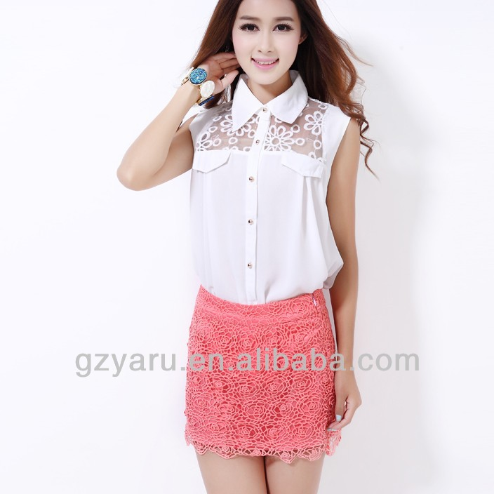 long neck models blouse with stand up collar
