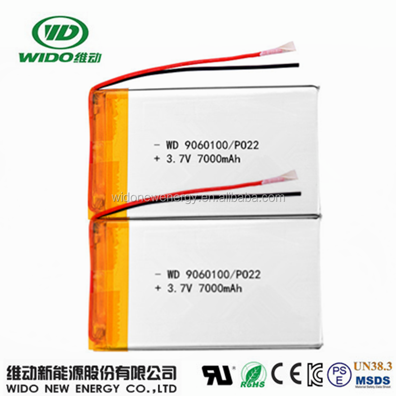 7000mAh lipo battery 3.7V 9060100 lithium polymer battery with pcm