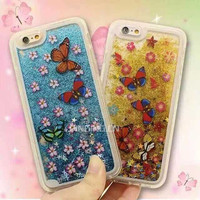Butterfly flower star quicksand liquid cellphone case for iphone 6 6s quicksand case 2 in 1 pc tpu protective case