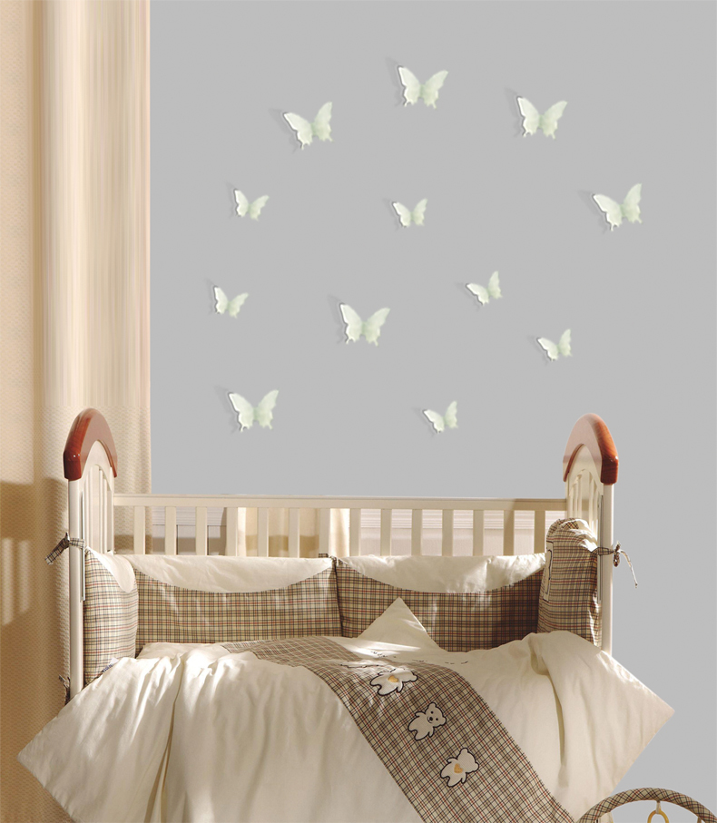 FL1072 New Decor 3D Glowing Butterfly Glow in the dark Stickers