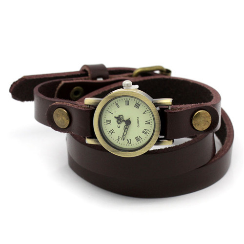 Fashion Women Round Brown Arabic Numerals Leatheroid Adjustable Watch