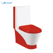 RED colored floor mounted toilet decoration
