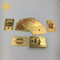 Customized USD 100 Colorful 24k Gold Playing Cards Poker Game Set With 54 Cards For Gift Or Decoration