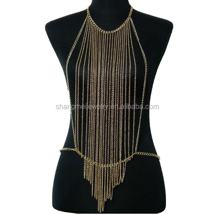 Wholesale multi rows chains sexy body chain jewelry