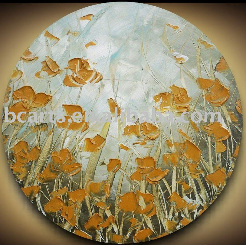 Special unique round shape design abstract flower wall decor painting