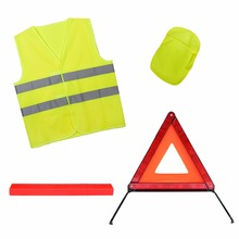 Car roadside breakdown accident emergency safety kit with reflective warning triangle and safety vest