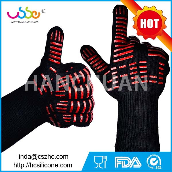 BBQ Gloves Grilling Cooking Glove 932F Extreme Heat Resistant Forearm Protection Long Cuff Silicone Grip Baking and Oven Mitts