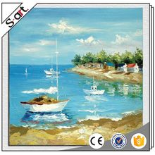 China manufacture unparalleled blue sea seaside canvas abstract landscape oil painting