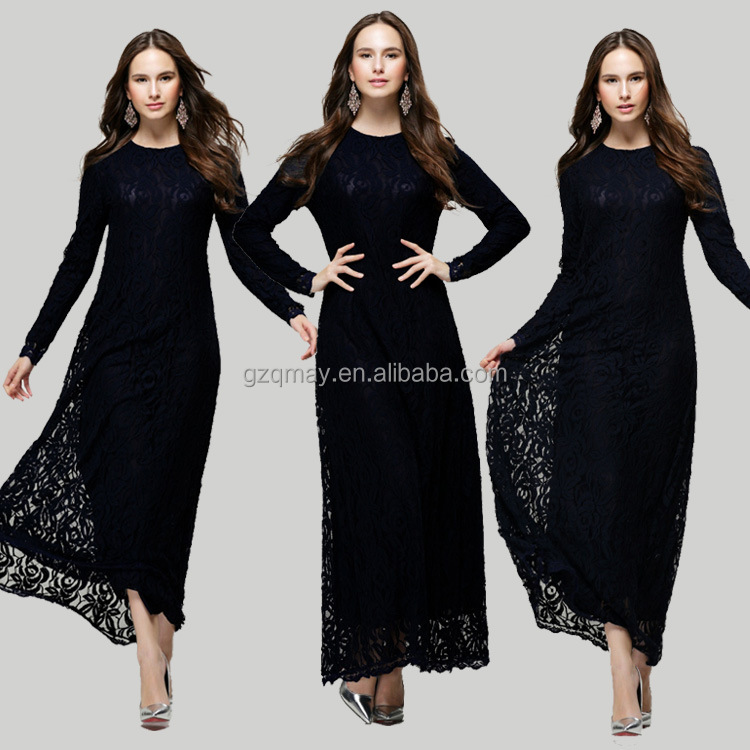 China supplier wholesale ladies arabic muslim casual rayon spandex long black maxi dress fashion muslimah women lace dresses