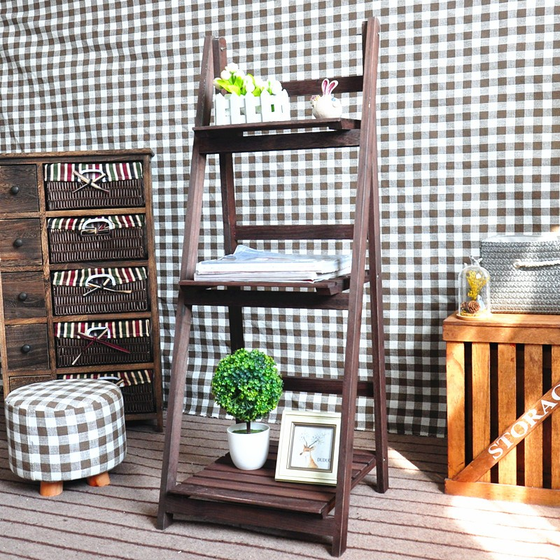 Eco-friendly Outdoor 3 Shelves Foldable Wooden Plant Stand