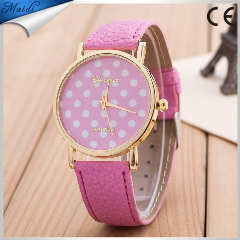 2016 Promotion Geneva watches Unisex Fashion Leather Watch For Ladies Women Polka Dots Watches 10 colors GW049