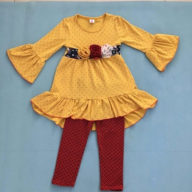 Wholesale fashion ruffle dress fall and winter girls outfits boutique toddler christmas children clothing