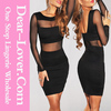 Plus Size Black Mesh Inserts Long Sleeves Bodycon Dress