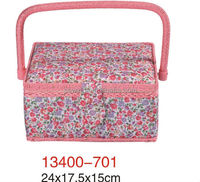 24*17.5*15cm Polyester Fabric with handle sewing basket