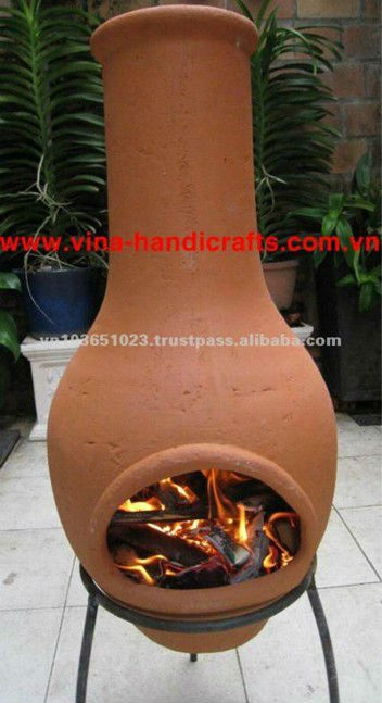 Clay chiminea stove
