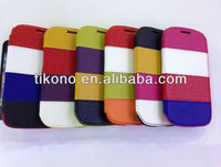 Colorful pu leather cover for samsung galaxy s3