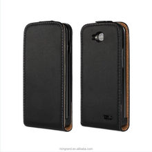 Black Genuine Leather Men Flip cover Case Skin Protector for LG Optimus L90 D410 D415
