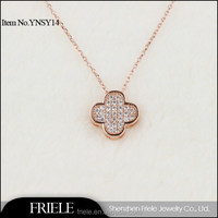 925 sterling silver gold plated clover shaped necklace