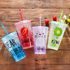 new design double wall plastic cup with straw