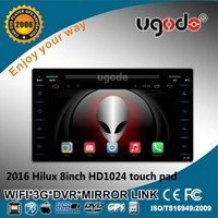 China supplier android 4.4 quad core car pc android 1 din car gps navigation for Toyota Hilux 2016