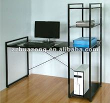 Glass Stainless Steel Computer Desk/Table with Bookshelf