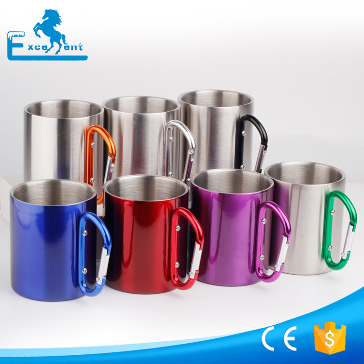 220ml outdoor camping cup with carabiner hook