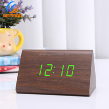 Hot Sale Voice Control Table Calendar Triangle Wooden Clock