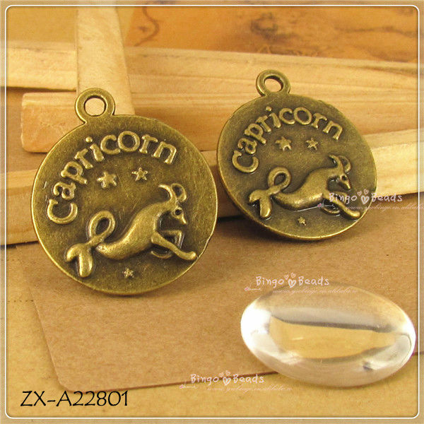 Antique Bronze Zodiac Bottle Cap 20mm Bezel Settings Pendant Settings Bottlecaps Pendant Trays