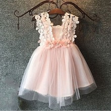 Girl clothes baby dress girl lace crochet dress kids pearls dress for girls of 7years old