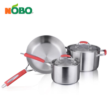 Wholesale 3pcs round frying pan stainless steel cooking pots and pans cookware sets